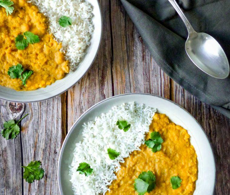 Dhal [ou curry de lentilles corail et pois chiches]