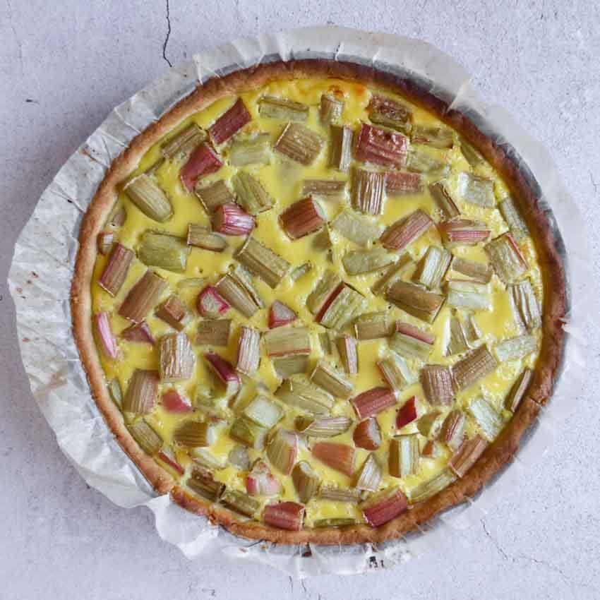 Tarte rhubarbe sans meringue cuite