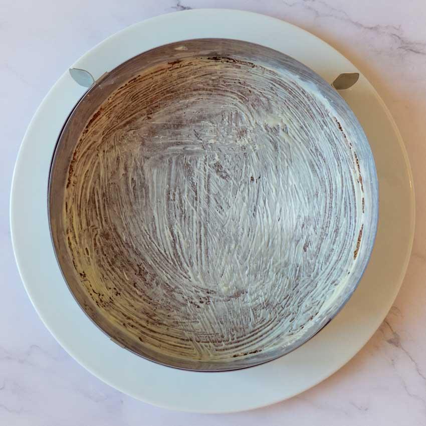 Chablonnage cheesecake aux framboises sans cuisson