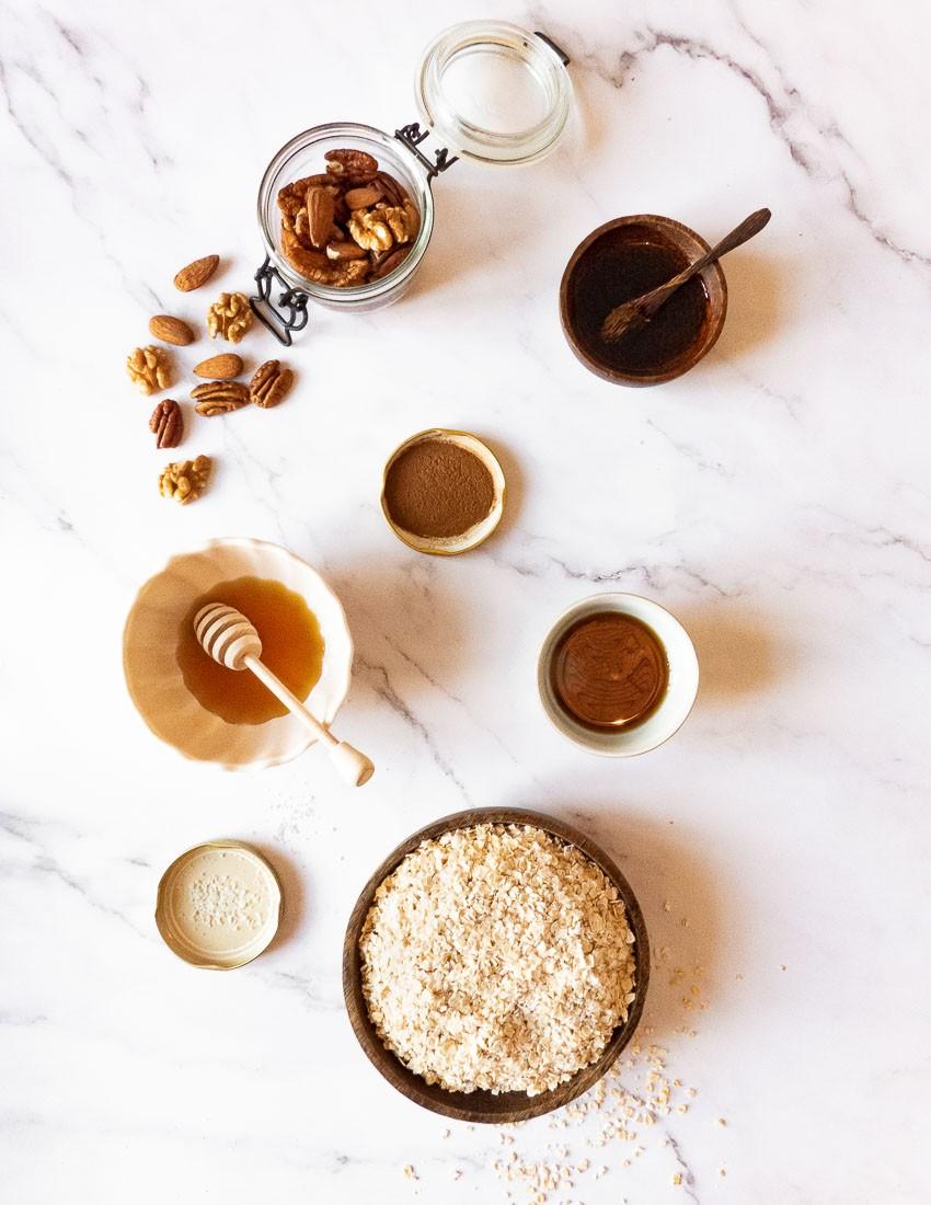 Ingrédients pour granola maison