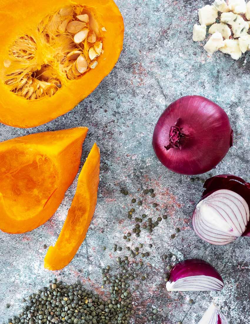 Ingrédients pour Potimarron rôti aux lentilles et au gorgonzola